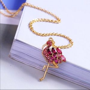 Jewelry - Pink Flamingo Crystal Pendant Necklace
